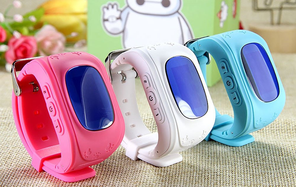 child GPS tracker watch in 3 different colours